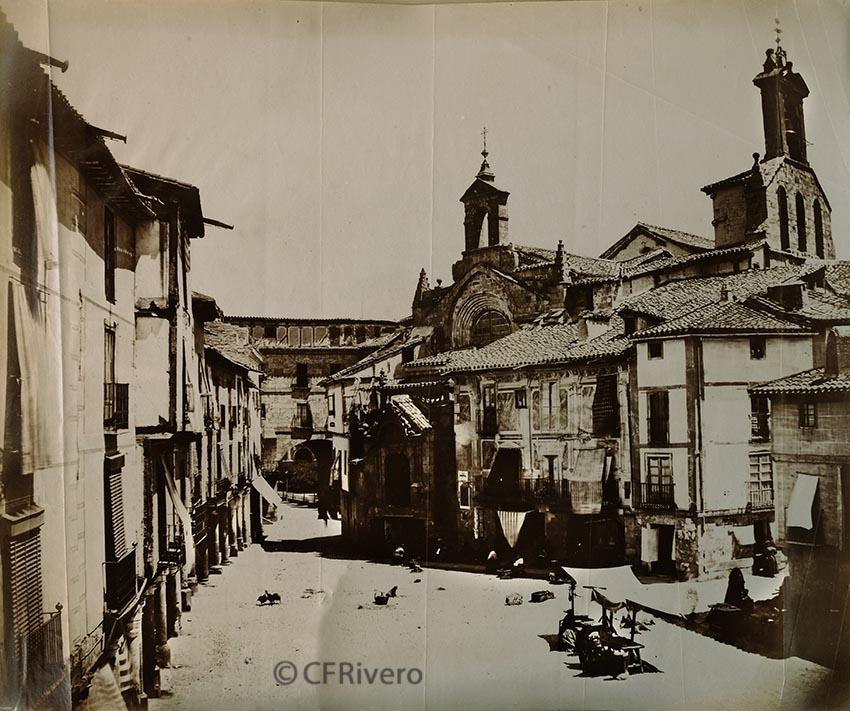 Pégot-Ogier, Eugène. Salamanca, Plaza del Corrillo e iglesia de San Martín. 1877. Albúmina (CFRivero)